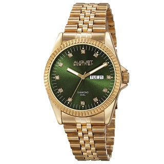 August Steiner Men's Quartz Diamond Accent Markers Stainless Steel Green Bracelet Watch