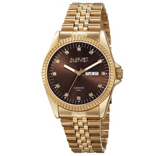 August Steiner Men's Quartz Diamond Accent Markers Stainless Steel Gold-Tone Bracelet Watch