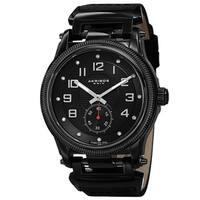 Akribos XXIV Men's Quartz Diamond-Accented Bold Leather Black Strap Watch