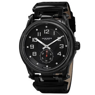 Akribos XXIV Men's Quartz Diamond-Accented Bold Leather Black Strap Watch