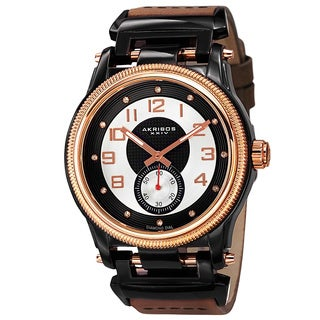 Akribos XXIV Men's Quartz Diamond-Accented Bold Leather Gold-Tone Strap Watch