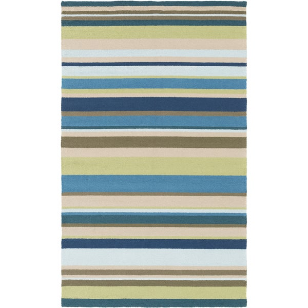 Hand-Hooked Alan Stripe Area Rug - 9' x 12'
