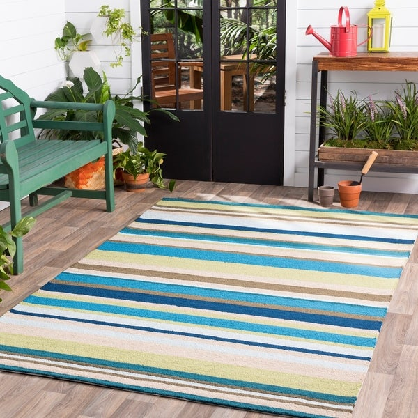 Hand-Hooked Alan Stripe Area Rug - 8' x 10'