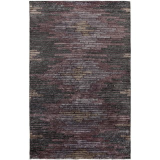 Hand-Knotted Arely Geometric Viscose Rug (8' x 11')