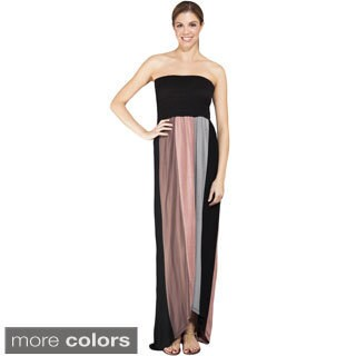 Handmade Women's Strapless Colorblocked Maxi Dress (Nepal)