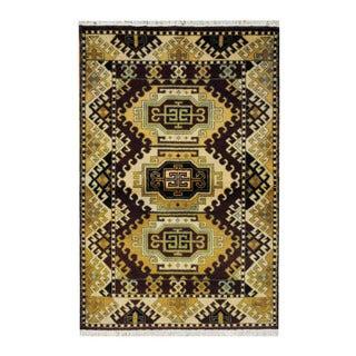 Herat Oriental Indo Hand-knotted Tribal Kazak Burgundy/ Ivory Wool Rug (3'2 x 4'10)