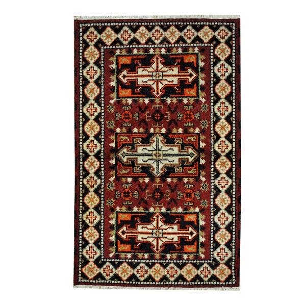 Herat Oriental Indo Hand-knotted Tribal Kazak Wool Rug (3'2 x 5)