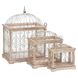 Metal Bird Cage with Celestial Designs (Set of 3)