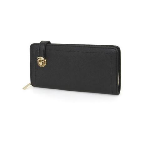 Rebecca and Rifka Faux Leather Push Lock Zip Around Wallet