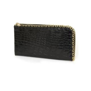 Rebecca And Rifka Shiny Croc Embossed Faux Leather Half Zip Around Wallet