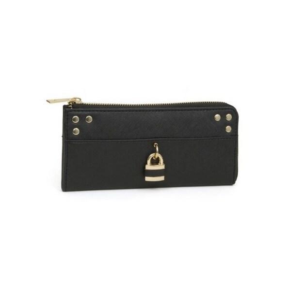 Rebecca And Rifka Saffiano Faux Leather Half Zip Around Wallet