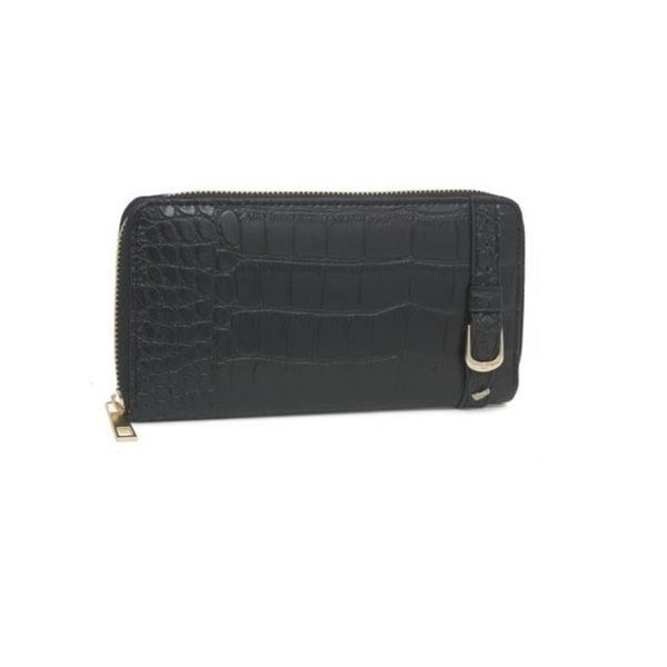 Rebecca And Rifka Croc Embossed Faux Leather Zip Around Wallet