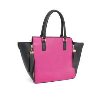 Rebecca and Rifka Two Tone Saffiano Faux Leather Tassel Tote