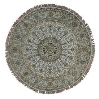 Handmade Ivory Round Silken Tabriz 250 KPSI Oriental Area Rug (6'10 x 6'10)