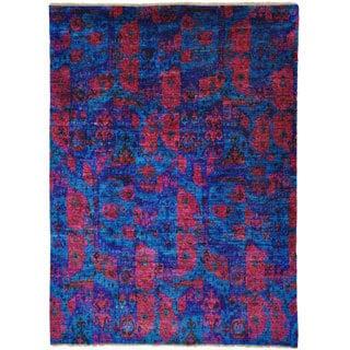 Hand-knotted Sari Silk Oriental Navy Blue Ikat Design Area Rug (9' x 12'1)