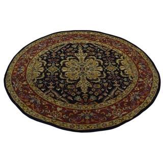 Handmade Round Kashan Revival New Zealand Wool Oriental Area Rug (4' x 4')