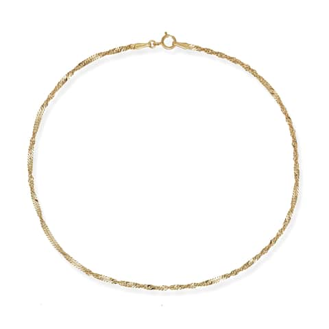 10k White or Yellow Gold 1.7mm Singapore Chain Anklet