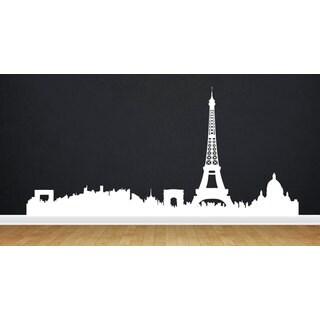 Eiffel Tower Paris Skyline White Sticker Vinyl Wall Art