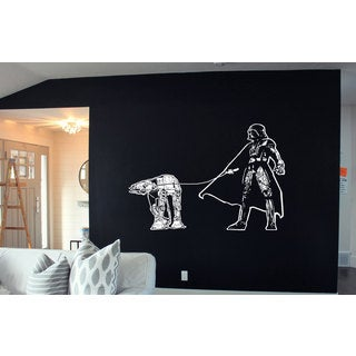 Darth Vader Walking Atat Star Wars White Sticker Vinyl Wall Art