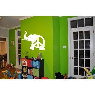 Peace Sign Elephant White Sticker Vinyl Wall Art