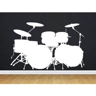 Drums Drum Set Rock White Sticker Vinyl Wall Art