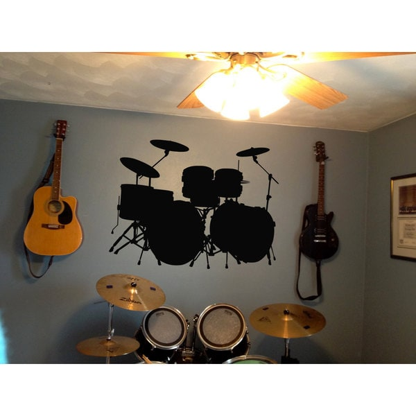 Shop Drums Drum Set Rock Black Sticker Vinyl Wall Art Free