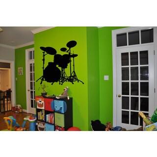 Black Drums Rock'N'Roll =Sticker Vinyl Wall Art