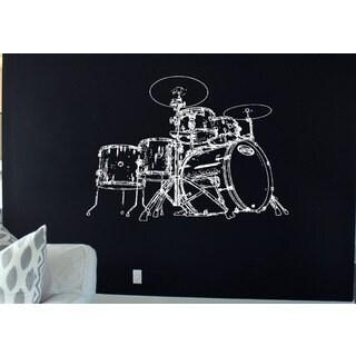 Drums Rock'N'Roll White Sticker Vinyl Wall Art
