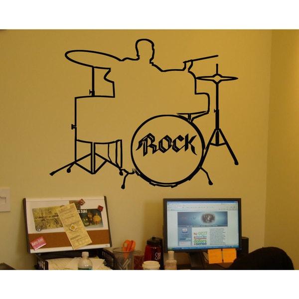 Shop Drum Set Rock Black Sticker Vinyl Wall Art - Free Shipping On ...