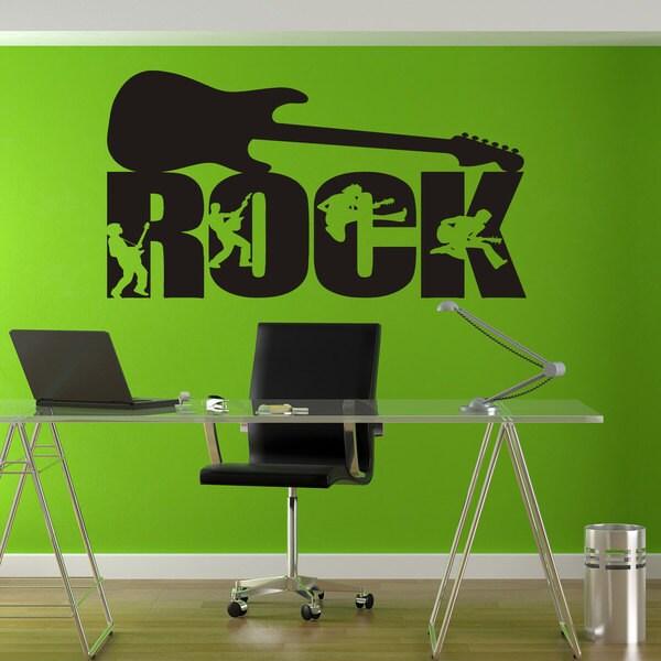 shop guitar rock rock'n'roll black sticker vinyl wall art - free