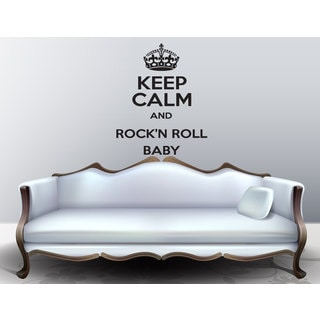 Keep Calm and Rock'N'Roll Baby Black Sticker Vinyl Wall Art