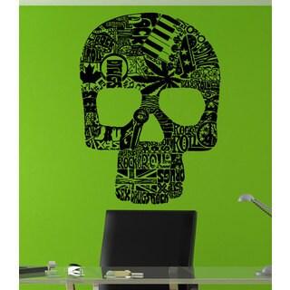 Skull Rock'N'Roll Black Sticker Vinyl Wall Art