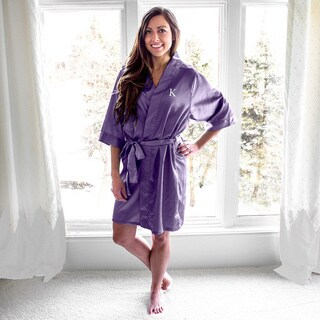 Personalized Purple Satin Robe