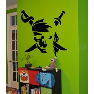 Jolly Roger Pirate Flag Black Sticker Vinyl Wall Art