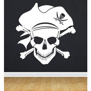 Jolly Roger Pirate Flag White Sticker Vinyl Wall Art
