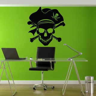 Jolly Roger Pirate Flag Black Vinyl Sticker Wall Art