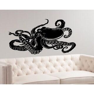 Octopus Tentacles Nautical Black Sticker Vinyl Wall Art
