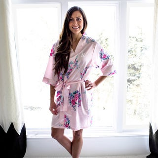 Personalized Light Pink Floral Satin Robe