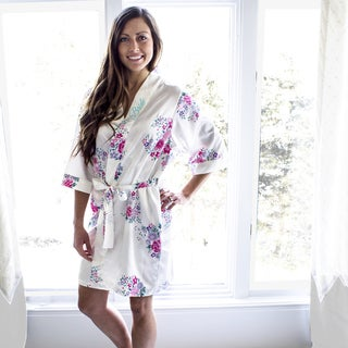 Bride White Floral Satin Robe