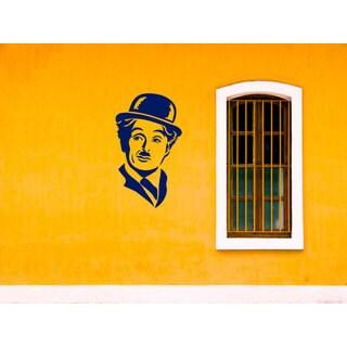 Charlie Chaplin The Tramp Blue Sticker Vinyl Wall Art