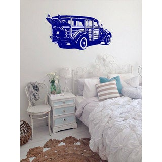 Old Woodie Car Blue Sticker Vinyl Wall Art