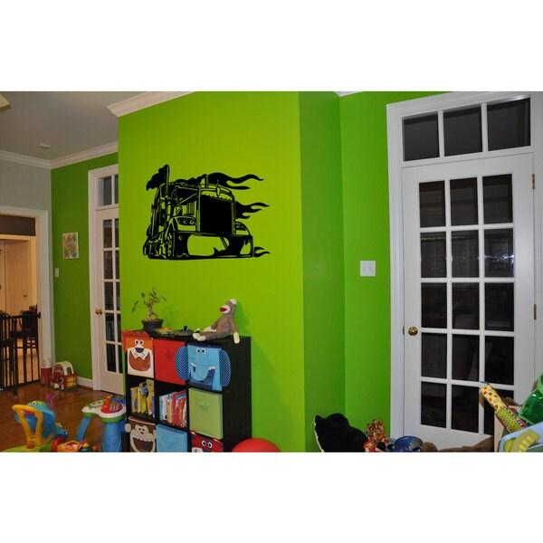 Big Rig Eighteenwheeler Semi Truck Black Sticker Wall Art