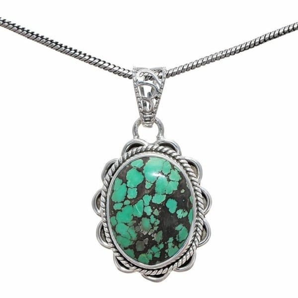 Handmade Sterling Silver Tibetan Turquoise Pendant Necklace (India) - Green