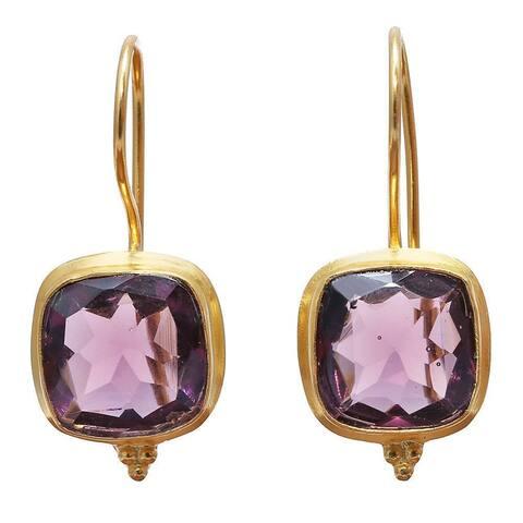 Handmade Gold Overlay Rose Glass Earrings (India) - Pink