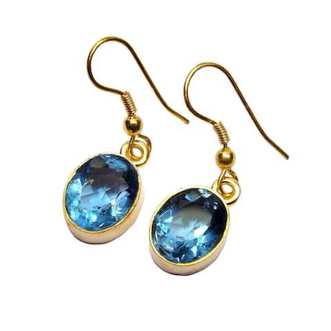Handmade Gold Overlay Blue Glass Earrings (India)