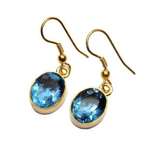 Handmade Gold Overlay Blue Glass Earrings (India)