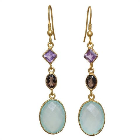 Handmade Gold Overlay Aqua Chalcedony Earrings (India)