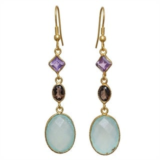 Handmade Goldplated Brass Aqua Chalcedony Earrings (India)