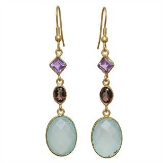 Handmade Gold Overlay Aqua Chalcedony Earrings (India)