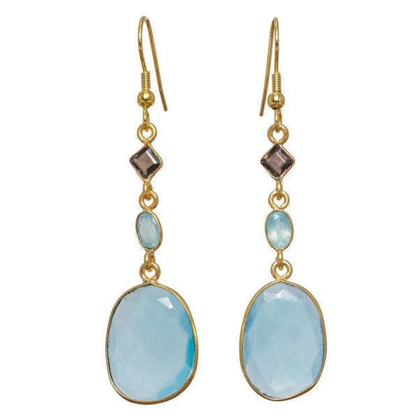 Handmade Gold Overlay Blue Chalcedony Earrings (India). Opens flyout.
